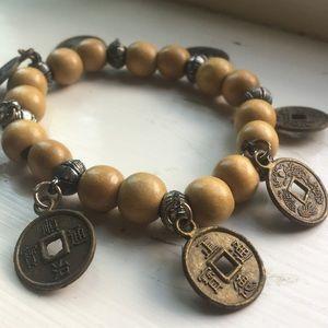 Wooden bead/Asian coin bracelet